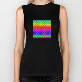 Rainbow and pink flowers Biker Tank