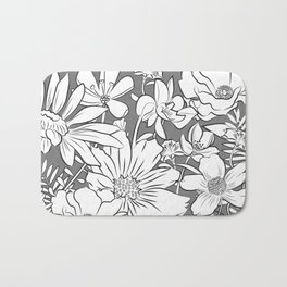 Flower Garden - black and white Bath Mat
