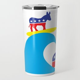 Democratic Donkey Riding Midterm Eection Blue Wave Travel Mug