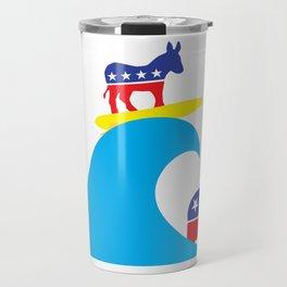 Democratic Donkey Riding Midterm Eection Blue Wave Travel Mug