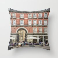 real madrid Throw Pillows featuring Relaxing cup, Madrid by Solar Designs