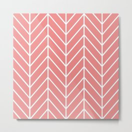 Coral and Herringbone Chevron Pattern Metal Print