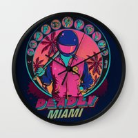 hotline miami Wall Clocks featuring Deadly Miami by Donnie