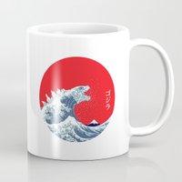 kaiju Mugs featuring Hokusai kaiju by Marco Mottura - Mdk7