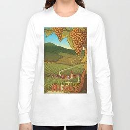 Alsace Travel Poster (Route des Vins) Long Sleeve T-shirt