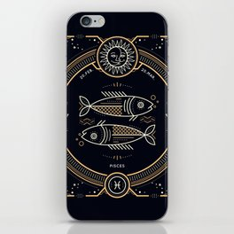 Pisces Zodiac Golden White on Black Background iPhone Skin