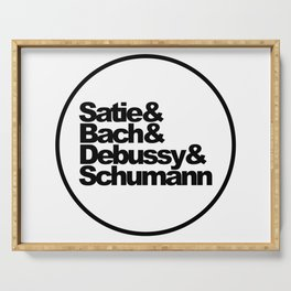 Satie, Bach, Debussy, Schumann, Classical Music Composers, white bg Serving Tray