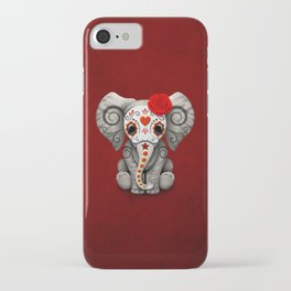 Deep Red Day of the Dead Sugar Skull Baby Elephant iPhone Case