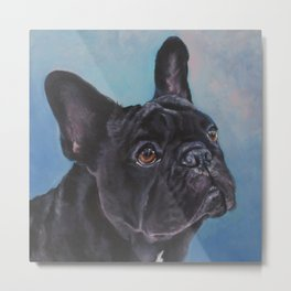 french bulldog dog portrait art from an original painting by L.A.Shepard Metal Print