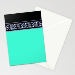 turquoise neon and black Stationery Cards