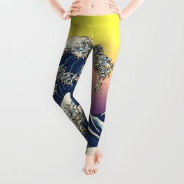 The Great Wave Of  Cat Leggings