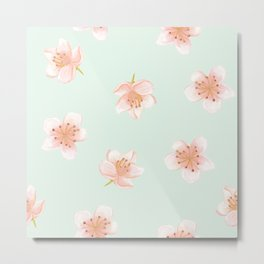 Pale Pink Cherry Blossoms On Pastel Robin's Egg Blue Continuos Metal Print