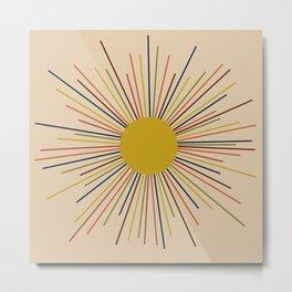 Mid-Century Modern Sunburst - Minimalist Abstract Sun in Mid Mod Mustard, Orange, Olive, Blue, and Beige Metal Print