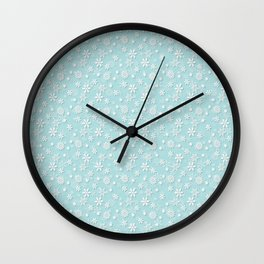Robin's Egg Aqua Blue Christmas Snow Flakes Wall Clock