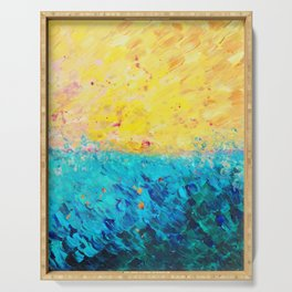 THE DIVIDE - Stunning Bold Colors, Ocean Waves Sun, Modern Beach Chic Theme Abstract Painting Serving Tray