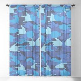 Handy Camo BLUE Sheer Curtain