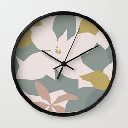 Leafy Floral Collage on Pale Pink Wall Clock