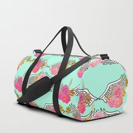 Wings and Roses Mint Green Duffle Bag