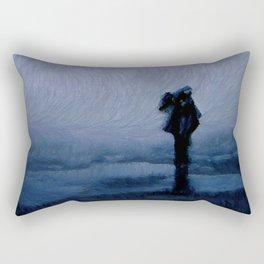 Silhouette in the fog Rectangular Pillow