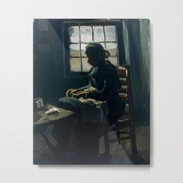 Vincent van Gogh - Woman Sewing, 1885 Metal Print