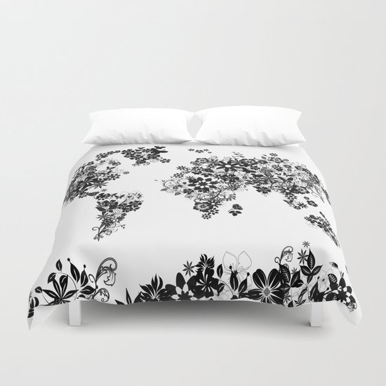 World map floral black and white duvet cover by bekimart society6 gumiabroncs Images