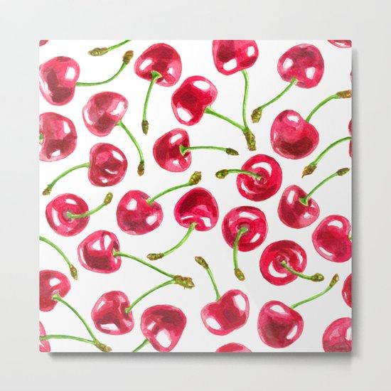 Watercolor cherries pattern Metal Print