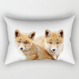 Twin baby fox art, twin kid fox Animal art, fox nursery art, woodland animals Rectangular Pillow