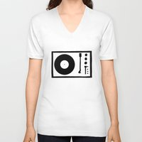 record V-neck T-shirts featuring 'Record Player' by Ben Rowe
