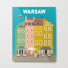 Warsaw, Poland - Skyline Illustration by Loose Petals Metal Print