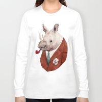 rhino Long Sleeve T-shirts featuring Rhino by Animal Crew