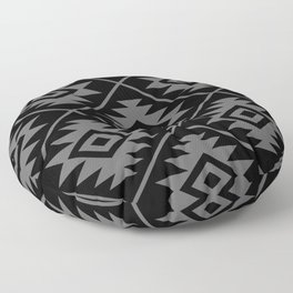 Aztec Symbol Pattern Gray on Black Floor Pillow