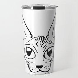 Sphynx Cat Cartoon - Sphynx Cat Drawing - Sphynx Illustration - Black and White - Ink Travel Mug