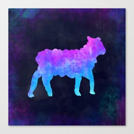 LAMB IN SPACE // Animal Graphic Art // Watercolor Canvas Painting // Modern Minimal Cute Canvas Print