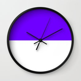 White and Indigo Violet Horizontal Halves Wall Clock