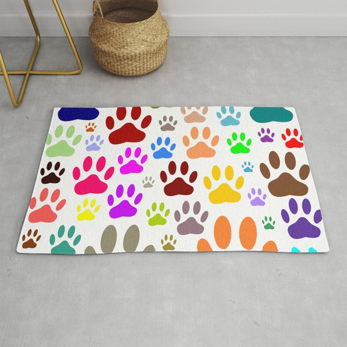 Dog Paw Prints All Over Rug By Almdrs