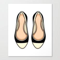 Beige And Black Ballet Flat Shoes Canvas Print