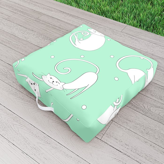 French Cats - Mint Green Outdoor Floor Cushion