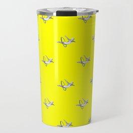 Hoop Diving - Pattern on Yellow Travel Mug
