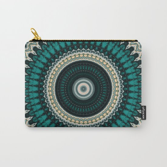 Mandala Fractal in Teal Study 01 Carry-All Pouch