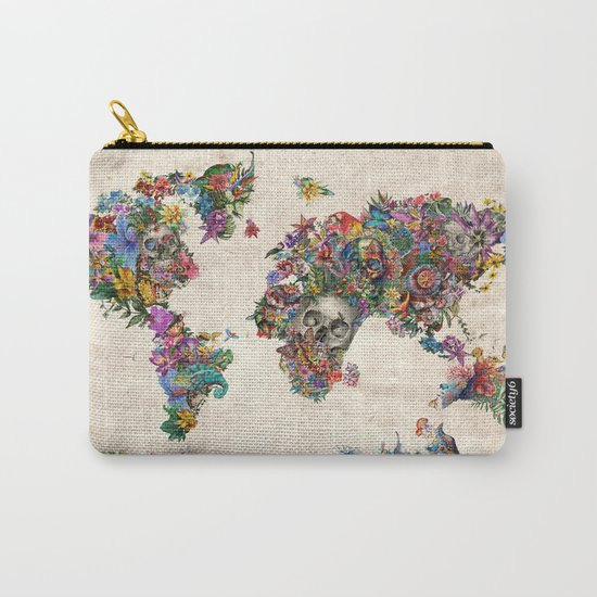floral skull world map 2 Carry-All Pouch
