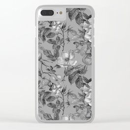 Vintage hand painted black gray watercolor roses floral Clear iPhone Case