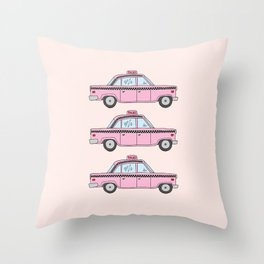 Pink Taxis Throw Pillow