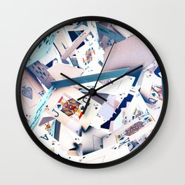 Flying playing cards Wall Clock