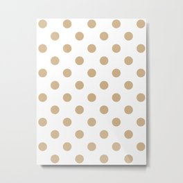 Polka Dots - Tan Brown on White Metal Print