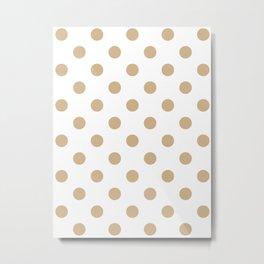 Polka Dots - Tan Brown on White Metal Print