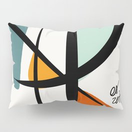 Abstract Minimal Lyrical Expressionism Art Blue Orange Pillow Sham