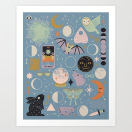 Lunar Pattern: Blue Moon Art Print