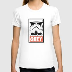 OBEY Storm Trooper  Womens Fitted Tee White MEDIUM
