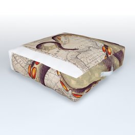Beige Tentacles Vintage Map Outdoor Floor Cushion