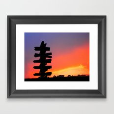 Signpost Sunset Framed Art Print